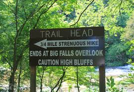 Trailhead sign at Burgess Falls State Natural Area