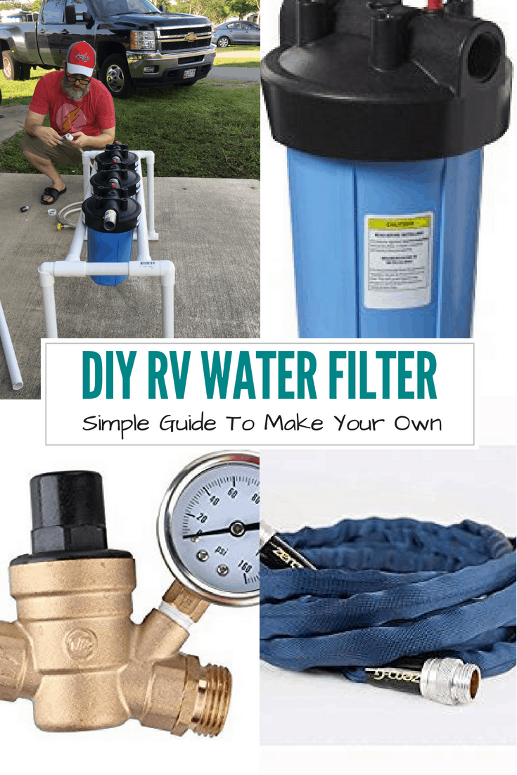 Save money by making your own simple DIY water filtration system and stand. The water filter system is perfect for all camping trips in Fifth Wheels, Travel Trailers, and campers.