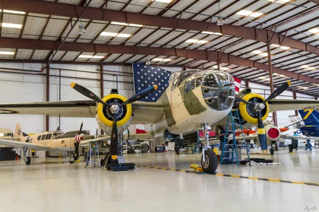 Plane in hangar at Warbirds Museum