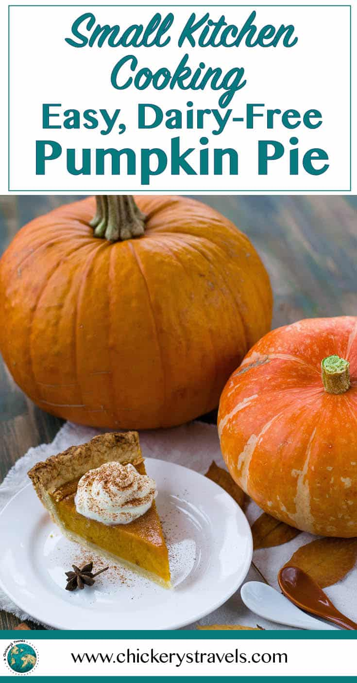 Learn to make this easy dairy free pumpkin pie for small kitchen cooking. Whether cooking in an RV, tiny home or apartment, this is the perfect recipe!