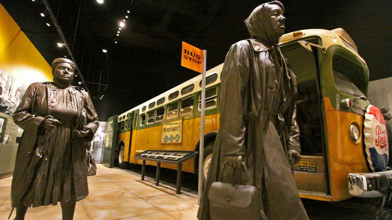 You can walk on the city bus and sit by a statue of Rosa Parks at the National Civil Rights Museum in Memphis TN.