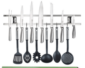 make use of wall space to store knives and larger serving utensils