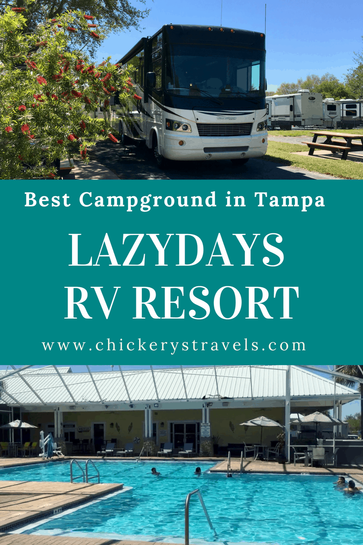 Visit Lazy Days RV Resort in Tampa Florida on your next RV vacation. Florida is a great place for camping and Lazy Days is one of the best RV Resorts in the state. Take your motorhome, fifth wheel, travel trailer or camper to Tampa Bay.