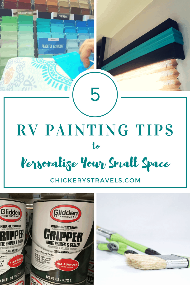 Ready for an RV makeover? These 5 tips will help you prepare to paint your RV interior (motorhome, 5th wheel, travel trailer, or camper) for a true glamping experience. #rvmakeover