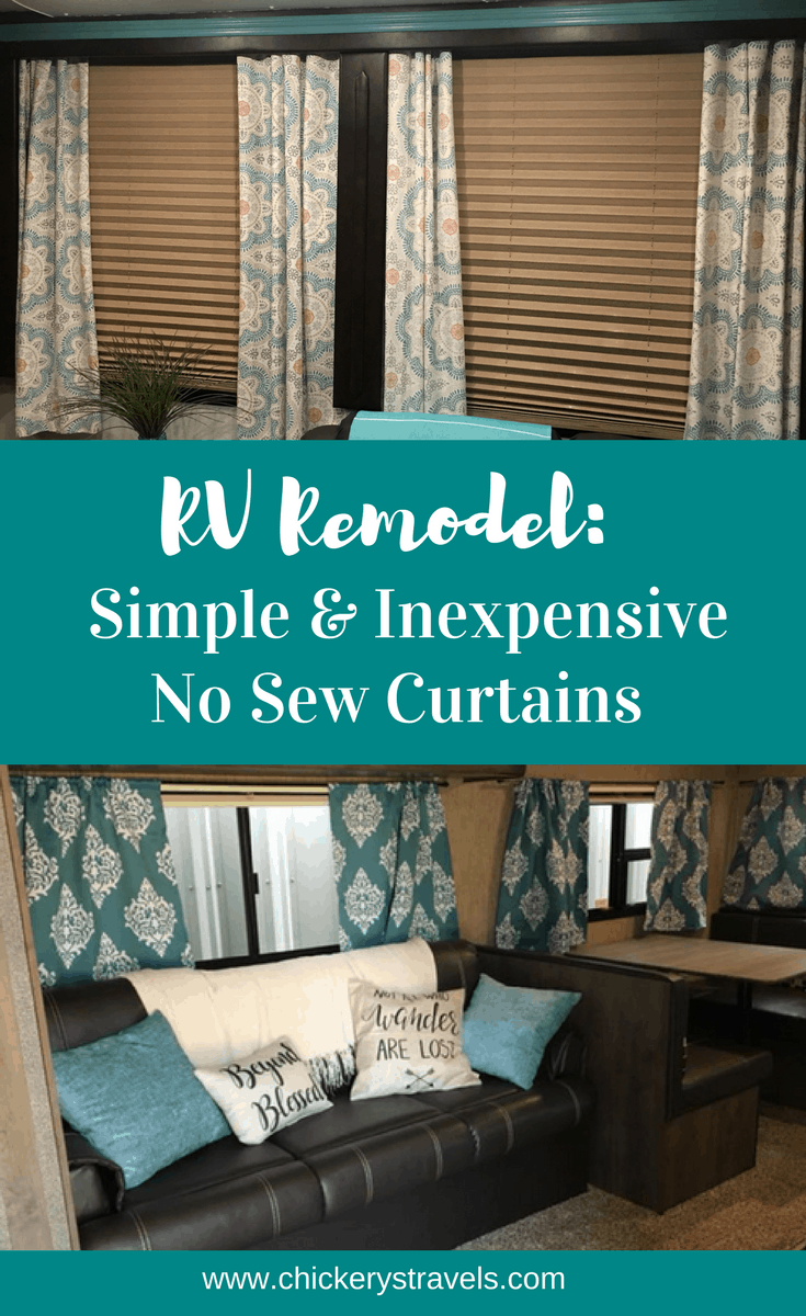 Learn how to make these Simple and Inexpensive No Sew Curtains. An easy way to makeover your RV is with window treatments.