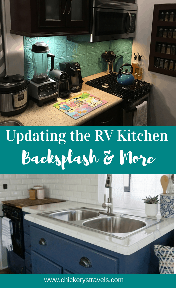 See these DIY RV Kitchen remodel ideas. Options for an RV makeover include backsplashes, painting cabinets, and much more for motorhomes, fifth wheels, travel trailers, and campers.
