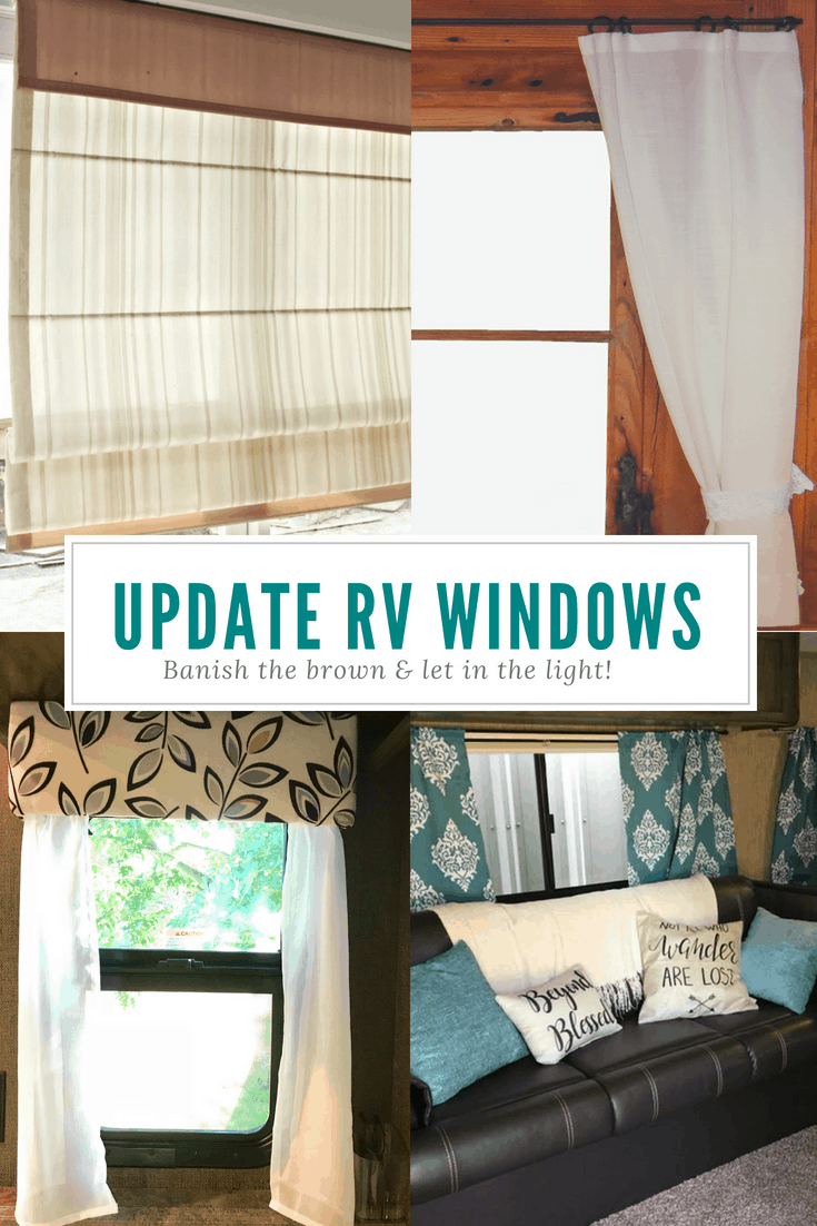 Not loving your RV's blinds or shades? Check out these ideas for curtains, cornices, valances, etc. for campers, motorhomes, travel trailers, and all kinds of RVs. Banish the brown and let in the light! Add some color to your drab RV interior. #RVmakeover #RVcurtains