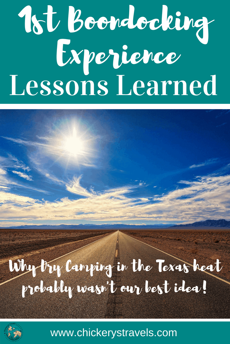 Lessons learned from our first dry camping or boondocking experience. Read the tips, hacks, and ideas for power and water. We also share how we coo in our trailer, along with some recipes and other ideas for food.  We shae many other tips for RV life and camping in motorhomes, fifth wheels, travel trailers, and campers.