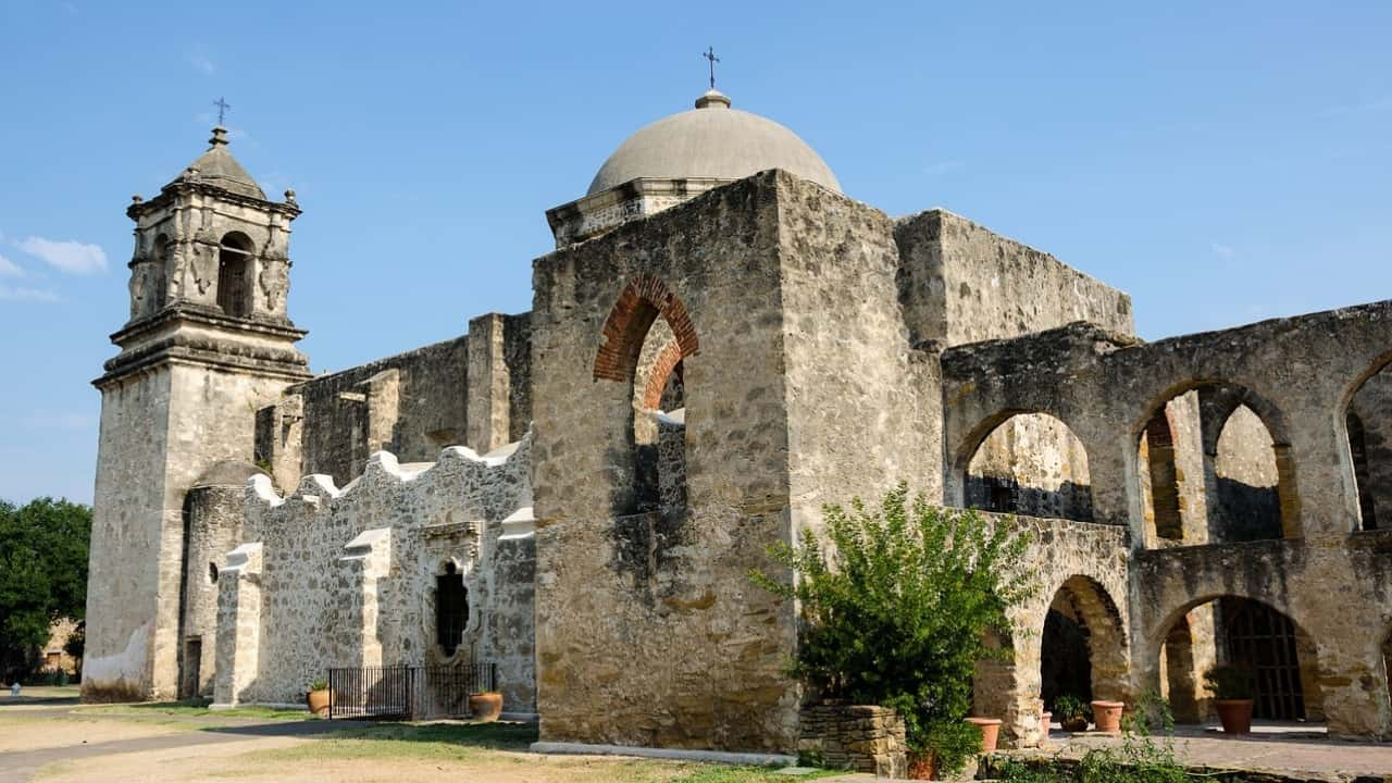 Follow the San Antonio Missions National Historical Park Hike & Bike Trail along the San Antonio River to five missions: The Alamo, Mission Concepcion, Mission San Jose, Mission San Juan, and Mission Espada. Each mission is about 2.5 miles from the next.