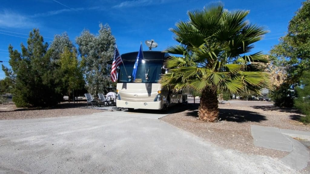 The Desert Eagle RV Park at Nellis Air Force Base is a terrific military campground with more than 200 full hook up sites. We especially like the legacy section with mature landscaping and some shade trees.