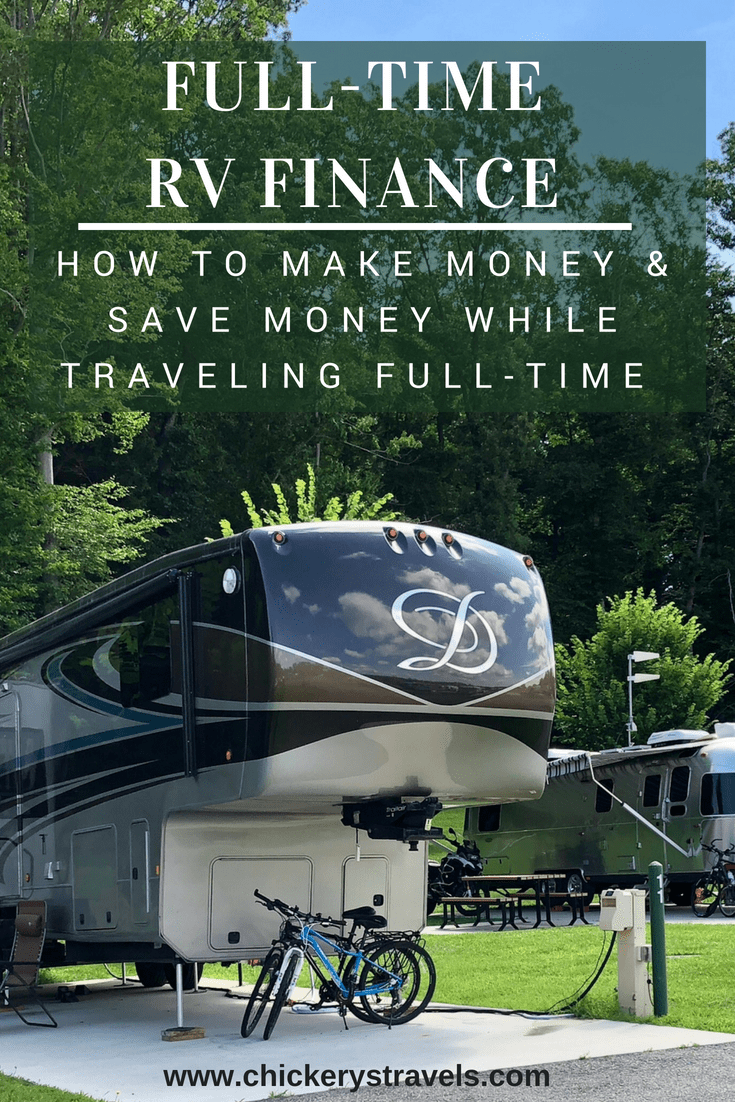 Learn how to make money and save money while traveling full-time in an RV. Whether you travel in a motorhome, Class C, Fifth Wheel, travel trailer, camper, or van these tips and tricks can help you with your road trip finances.