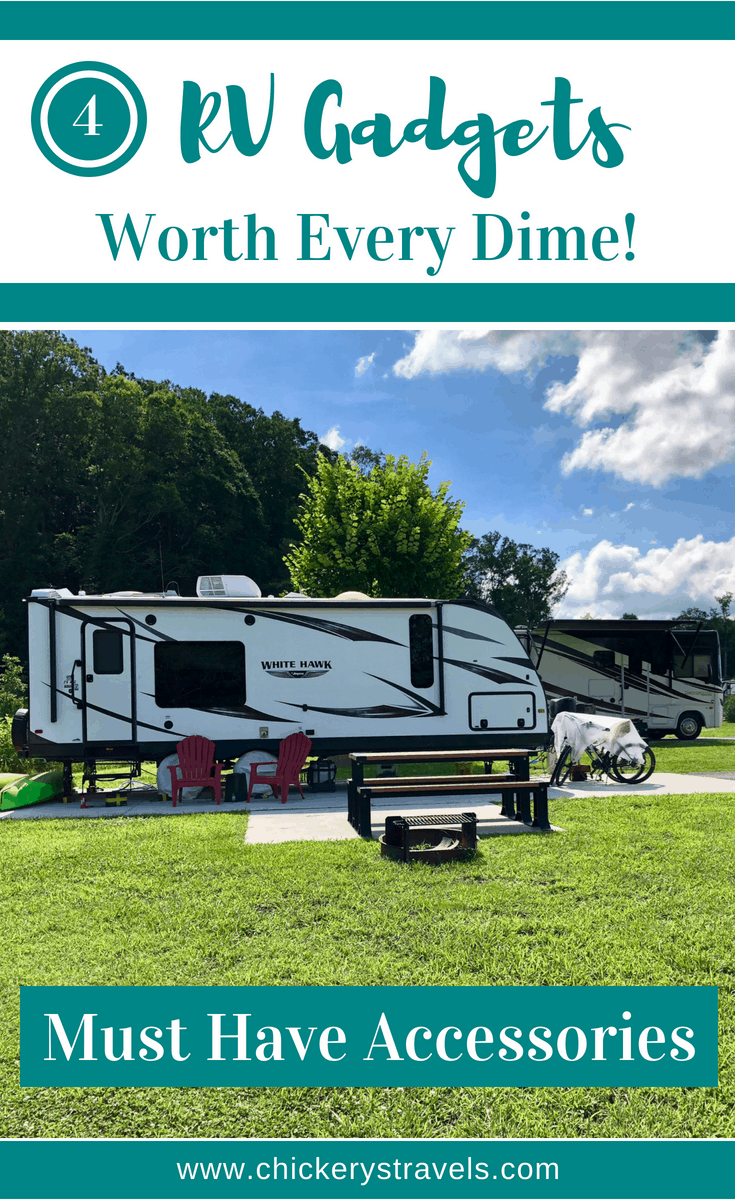 See the top 4 RV gadgets and accessories that we can't live without. These products and DIY projects will make your camping experience more comfortable for the whole family. You can use them for any type of RV, motorhome, 5th wheel, travel trailer, or camper.
