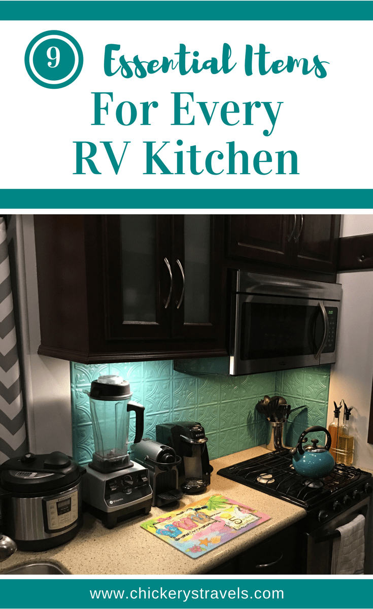See the 9 essential items for any RV kitchen. They include ideas, hacks, and must haves for organization, storage, and decor in your tiny RV kitchen.