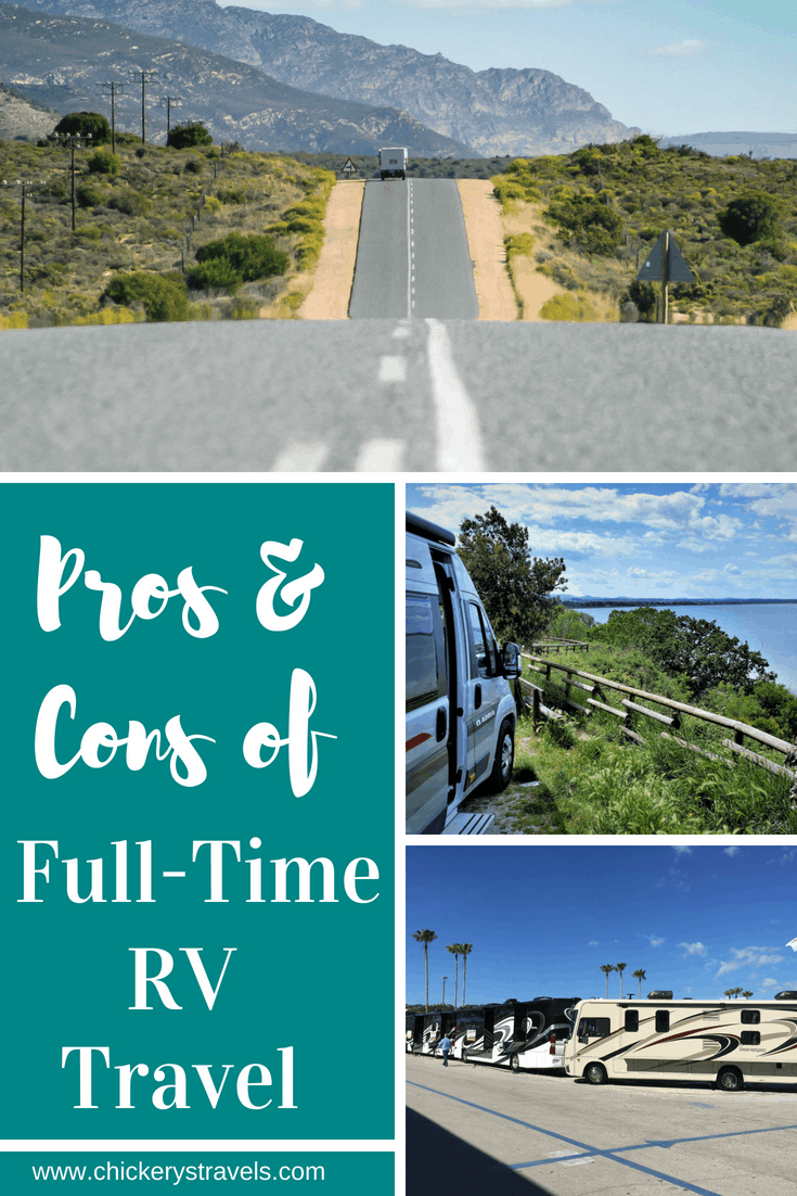 Full-Time RV Travel is not always glamorous. There are pros and cons to it like anything else. Learn about the advantages and disadvantages of the full-time RV lifestyle.