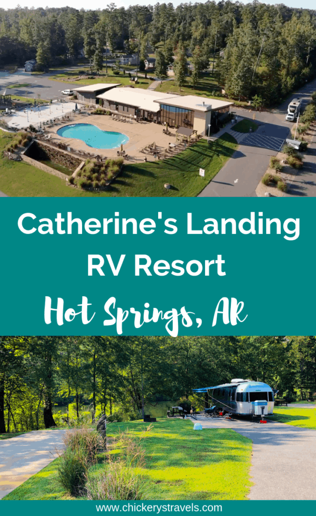 Catherine's Landing RV Resort in Hot Springs Arkansas is an amazing campground with tons of amenities including a great heated pool area with splash pad, play ground, dog park, disc golf course, kayak & boat rentals, and covered pavilion with picnic tables and cooking area. They also have 2 very clean bath houses and laundry rooms. They even had a very nice pet bathing area.