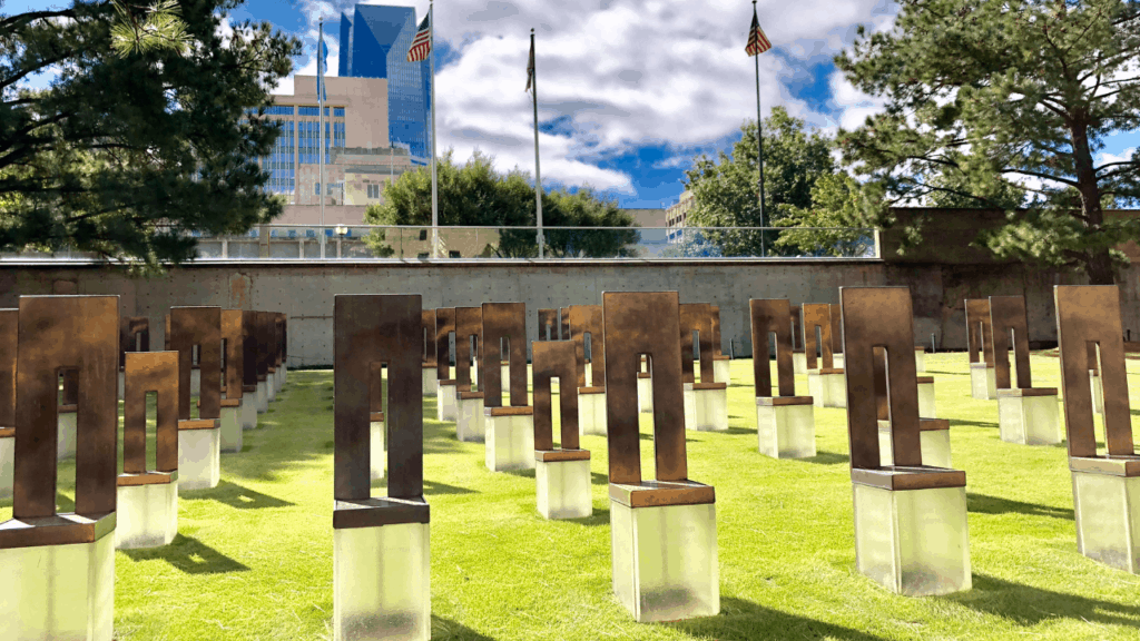 If you are in the area, be sure to visit the Oklahoma City Museum and Memorial. The outdoor memorial can be visited 24-hours per day. A particularly poignant part of it is the Field of Empty Chairs. The 168 empty chairs were hand-crafted from glass, bronze, and stone. They sit on the site where the Murrah Building once stood and represent those who lost their lives.