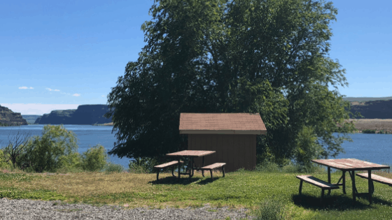 Waterfront sites at Crescent Bar RV Resort, a Thousand Trails campground.