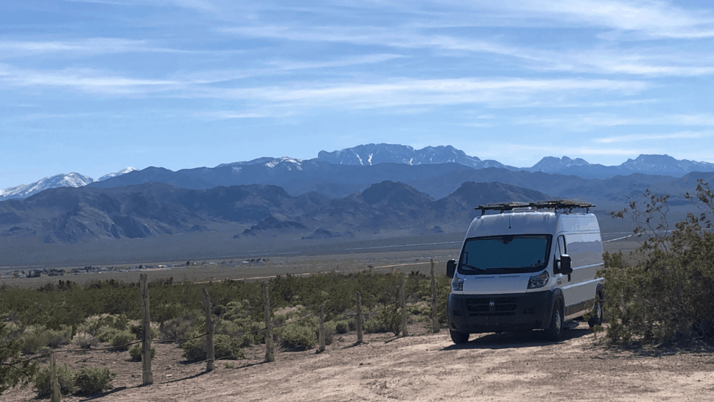 This is the perfect boondocking spot at the Desert National Wildlife Refuge north of Las Vegas, NV.