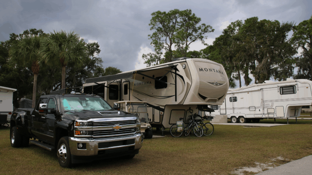 Sanlan RV & Golf Resort is a large, mainly 55+, park with both full time residents and RVers. There is an exercise equipment room and several recreational buildings for activities such as exercise classes, card games, and darts as well as courts for pickle ball, horse shoes, shuffleboard, and other games. They also have two heated pools and many small lakes with fishing opportunities.