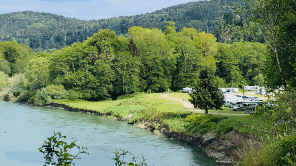 An idyllic campground along the river near the Redwoods National and State Parks.