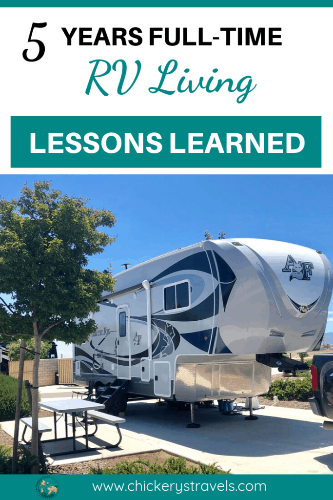 After 5 years of full-time RV living and traveling, we share our top five lessons learned and biggest regret. While we don't expect your RV journey to be the same, we hope we can give you some things to consider. We also share some tips and ideas for enjoying your RV life whether you are traveling in a motorhome, fifth wheel, or travel trailer.