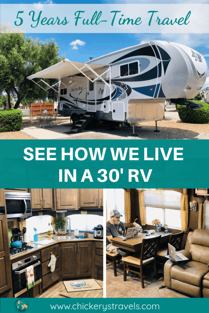 See how this couple lives and travels in a Fifth Wheel RV. They travel full-time in this tiny home on wheels. Learn what makes them happy campers. #rvlife