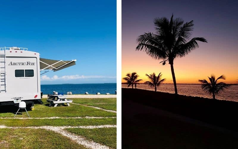 Two photos: One shows an Arctic Fox 5th wheel with its awning out, parked on grass. Blue sky and deep blue water in the background. The second photo shows a beautiful orange sunset over the water with palm trees in the foreground.