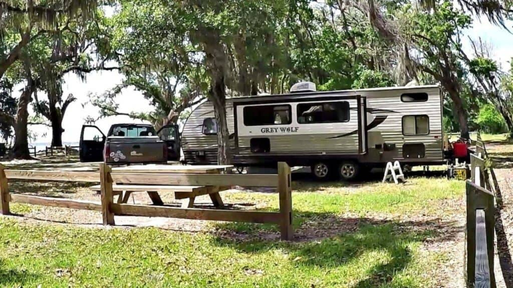 Escribano Point Wildlife Management Area offers free camping in Florida at the Bayside Campground.