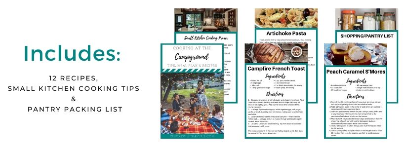 The campground cookbook includes 12 recipes, tips for making the most of your small space, and a pantry packing list.