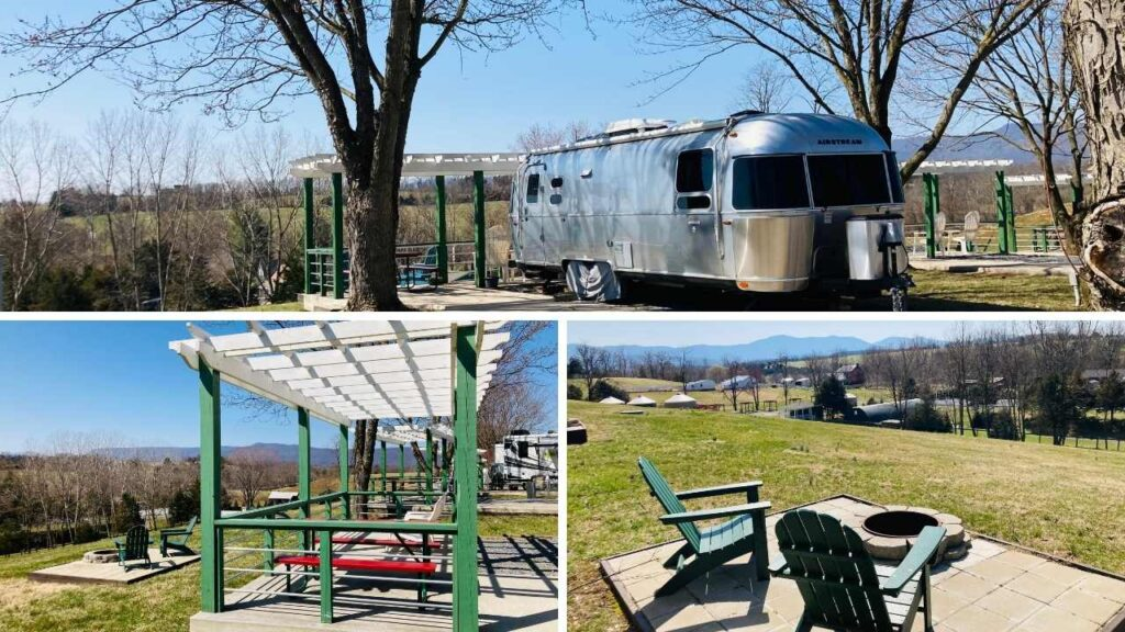 The Luray KOA has the most unique campsites including these pergola mountain view campsites. The pergola has a picnic table and extra seating, then below it, you have a fire ring and more seating to enjoy the mountain views.