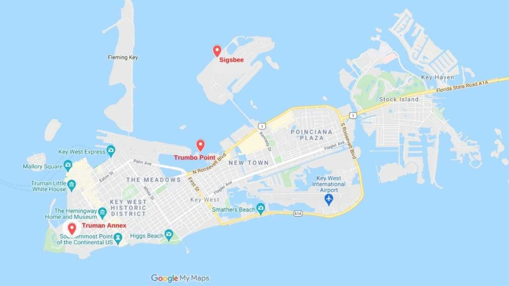 This map shows the three military campgrounds on Key West.