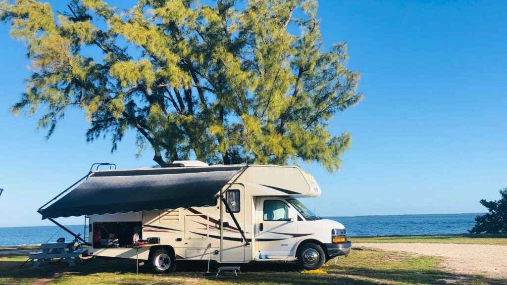 Class C in a waterfront dry camping site at Sigsbee RV Park.