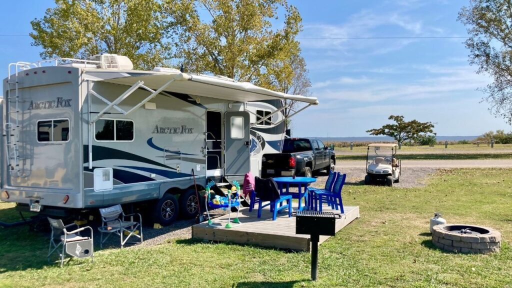 The Outer Banks West KOA has several different site types including this Deluxe Patio site.