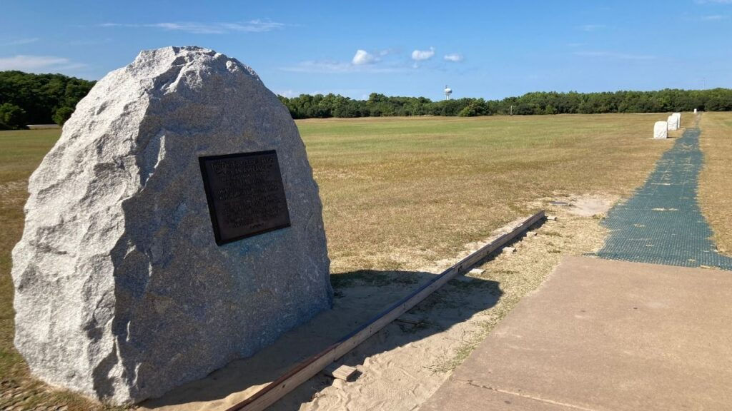 See the path of the first powered flight at the Wright Brothers National Historic Site.