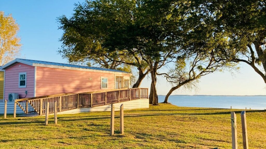 The Outer Banks West KOA has several different site types including this camping cabin.